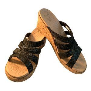 Crocs Grip Cork Wedge Sandals Size 8